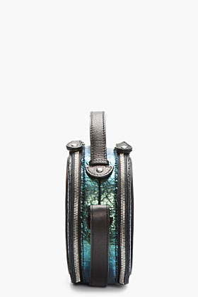 Carven Blue Iridescent Textured Round Shoulder Bag