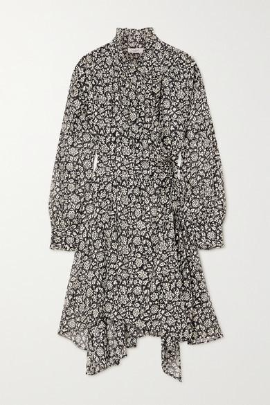 Etoile Isabel Marant Pamela Ruffled Floral-print Cotton-voile Wrap Dress - Black