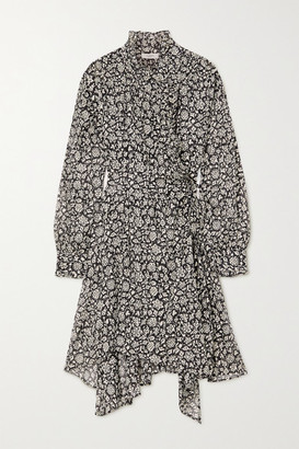 Etoile Isabel Marant Pamela Ruffled Floral-print Cotton-voile Wrap Dress - Black