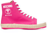 Moschino lace-up hi-top sneakers - women - Cotton/Raffia/Leather/rubber - 35