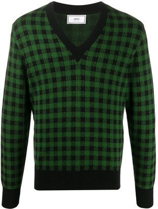 Ami gingham jacquard V-neck jumper