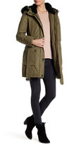 Lucky Brand Faux Fur/Faux Shearling Trim Hooded Anorak