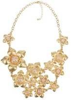 Textured Flower Bib Necklace