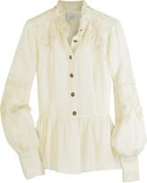 Wool-blend lace blouse