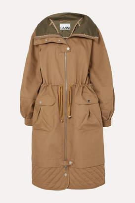 Ganni Quilted Brushed-twill Jacket - Beige