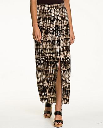 Le Château Tribal Print Challis Side Slit Skirt
