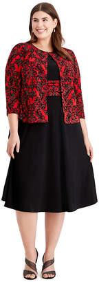 Jessica Howard Plus Size Sparkle Dress & Jacket