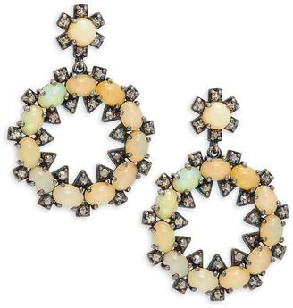 Bavna Black Rhodium-Plated Sterling Silver, Opal Diamond Earrings