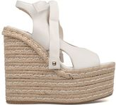 Paloma Barceló White Lauris Leather Wedge Sandal