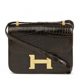 Hermes Constance Brown Crocodile Handbags
