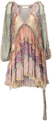 Zimmermann Carnaby Ruffled Silk Chiffon Mini Dress