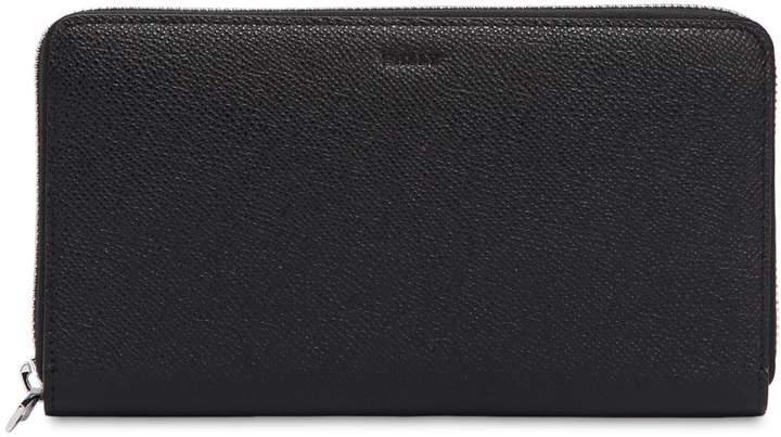 Bally Saffiano Leather Zip Around Wallet