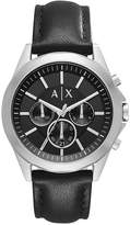 Armani Exchange Men's Chronograph Black Leather Strap Watch 44mm AX2604