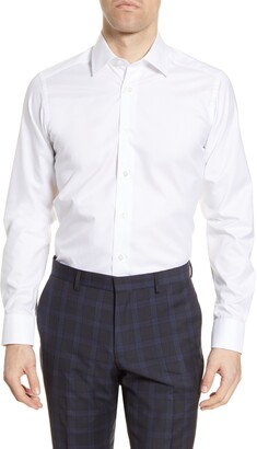 David Donahue Slim Fit Solid Cotton Dress Shirt