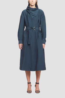 3.1 Phillip Lim Textured Faille Shirt Dress With Scarf Neck