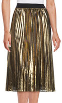 T Tahari Pheobe Pleated Metallic Chiffon Midi Skirt