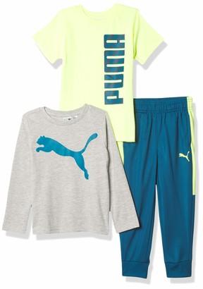 Puma Boys' 3 Piece Graphic T-Shirt Longsleeve T-Shirt & Pant Set