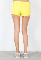 Rag and Bone Neon Mila Cut Off Short in Neon Yellow -