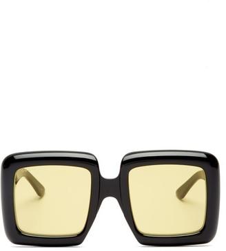 Gucci Oversized Square Acetate Sunglasses - Black Yellow
