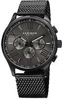 Akribos XXIV Men's AK844BK Round Dark Gray Radiant Sunburst Dial Two Time Zone Quartz Bracelet Watch