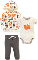 Hudson Baby Boys' Casual Pants Forest - White & Orange Forest Creatures Zip-Front Hoodie Set - Newborn & Infant