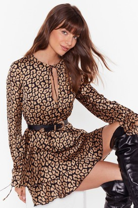 Nasty Gal Womens Here and Meow Tiered Leopard Dress - black - 4