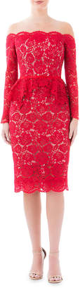 Nha Khanh Off-the-Shoulder Peony Lace & Tulle Long-Sleeve Peplum Dress