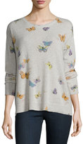 Joie Eloisa Butterfly-Print Crewneck Cashmere Sweater, Heather Stonemist