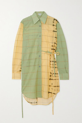 Loewe Belted Checked Cotton-poplin And Cotton And Silk-blend Shirt - Green