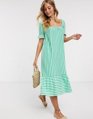 ASOS DESIGN square neck frill sleeve midi dress with pep hem in green stripe