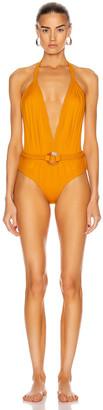 Johanna Ortiz Romantic Sun with Belt One Piece Swimsuit in Summer Mustard | FWRD