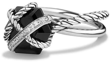 David Yurman Petite Cable Wrap Ring with Black Onyx and Diamonds