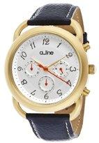 A Line a_line Women's AL-80012-YG-02-BU Maya Chronograph Silver Dial Dark Blue Leather Watch