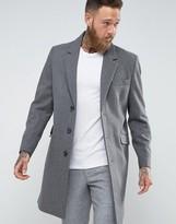 Asos Wool Mix Overcoat In Light Grey Marl