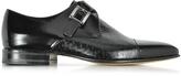 Moreschi Nancy Black Peccary Leather Monk Strap Shoe