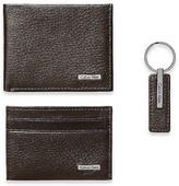 Calvin Klein Mens Pebble Leather Wallet + Keychain 3 Piece Set Brown