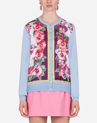 Dolce & Gabbana Violet-Print Twill And Silk Cardigan