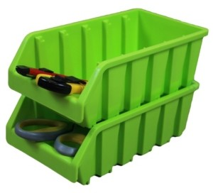 Basicwise Vintiquewise Plastic Storage Stacking Bins, Set of 2