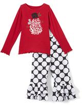 Beary Basics Red 'Snow' Long-Sleeve Tee & Ruffle Pants - Toddler & Girls