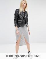 Noisy May Petite Wrap Front Jersey Midi Skirt