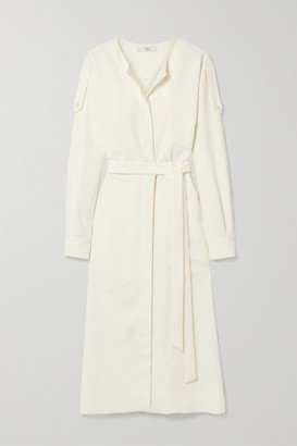 Tibi Belted Crepe Midi Dress - White