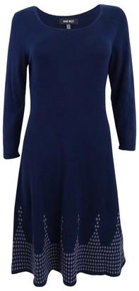 Nine West Women's 3/4 SLV Dbl Jacquard Dress W/Detailed Flared Hem