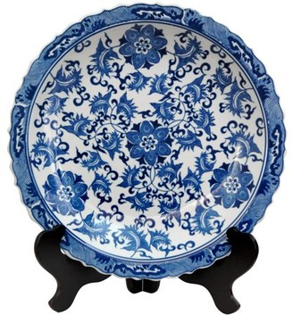 "Oriental Furniture 14"" Floral Blue & White Porcelain Plate, decorative item, end table item, living space"