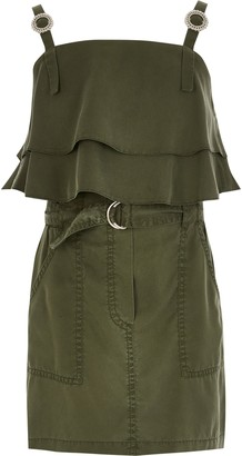 River Island Girls Khaki frill utility crop top outfit