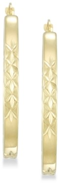 Signature Gold Diamond Accent Patterned Hoop Earrings in 14k Gold over Resin