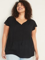 Old Navy Crinkle-Crepe Tie-Neck Plus-Size Blouse