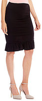 M.S.S.P. Ruched Knit Jersey Pencil Skirt