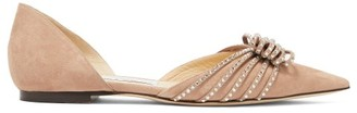 Jimmy Choo Katience Embellished Suede D'orsay Flats - Nude