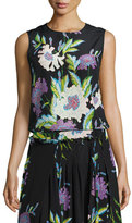 Diane von Furstenberg Floral-Print Silk Shell Top, Black Multicolor