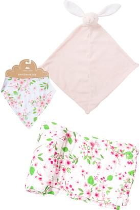 Angel Dear Bunny Blanket & Floral Muslin Swaddle & Bib Set